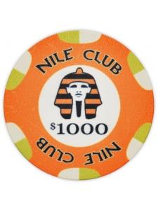 $1000 Orange - Nile Club Ceramic Poker Chip