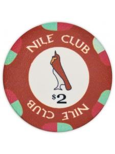 $2 Dark Red - Nile Club Ceramic Poker Chips