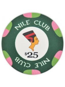 $25 Green - Nile Club Ceramic Poker Chips