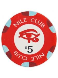 $5 Red - Nile Club Ceramic Poker Chips