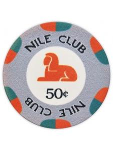 50¢ Gray - Nile Club Ceramic Poker Chips