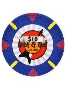 $10 Blue - Rock & Roll Clay Poker Chips