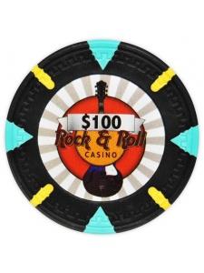 $100 Black - Rock & Roll Clay Poker Chips