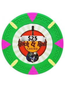 $25 Green - Rock & Roll Clay Poker Chips