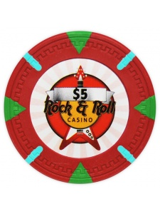$5 Red - Rock & Roll Clay Poker Chips