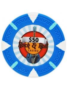 $50 Light Blue - Rock & Roll Clay Poker Chips