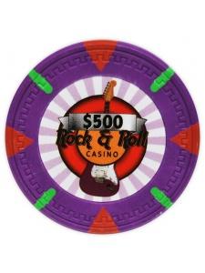 $500 Purple - Rock & Roll Clay Poker Chips