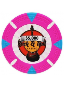 $5000 Pink - Rock & Roll Clay Poker Chips