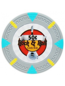 50¢ Gray - Rock & Roll Clay Poker Chips