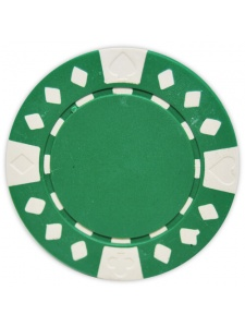 Green - Diamond Suited Clay Poker Chips