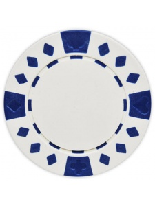White - Diamond Suited Clay Poker Chips