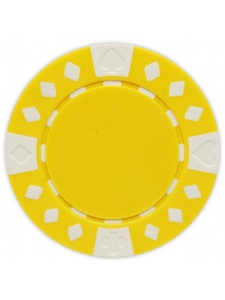 Yellow - Diamond Suited Clay Poker Chips