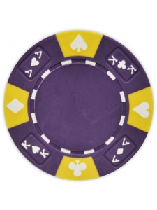 Purple - Ace King Suited Clay Poker Chips