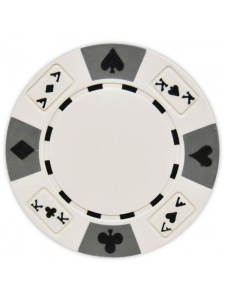 White - Ace King Suited Clay Poker Chips