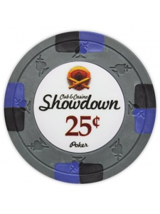 25¢ Gray - Showdown Clay Poker Chips