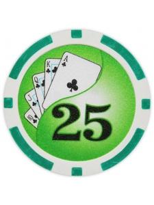 $25 Green - Yin Yang Clay Poker Chips