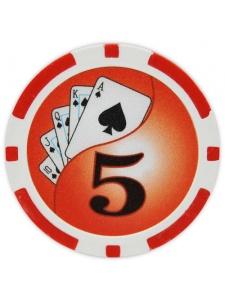 $5 Red - Yin Yang Clay Poker Chips