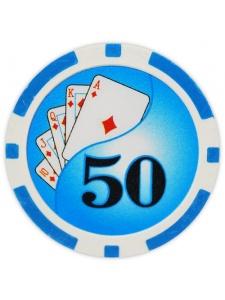 $50 Light Blue - Yin Yang Clay Poker Chips