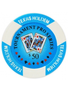 $50 Light Blue - Tournament Pro Clay Poker Chips