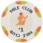 Nile Club - $1 White Ceramic Poker Chips