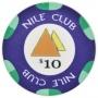 Nile Club - $10 D. Blue Ceramic Poker Chips