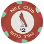 Nile Club - $2 D. Red Ceramic Poker Chips