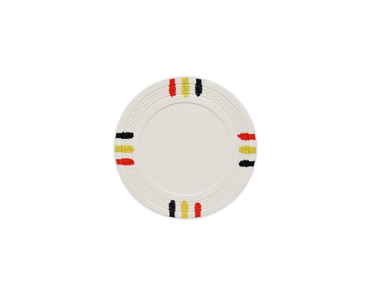 12 Stripe - White Clay Poker Chips