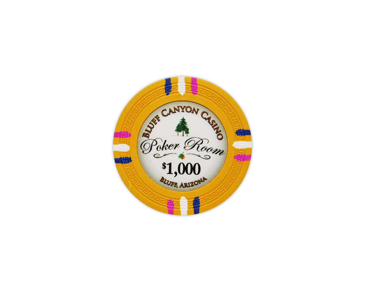 Bluff Canyon - $1000 Yellow Clay Poker Chips
