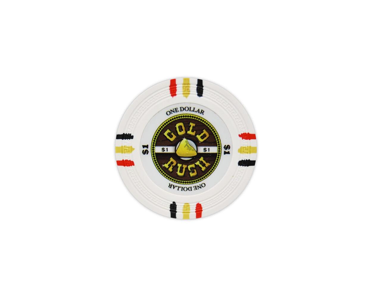 Gold Rush - $1 White Clay Poker Chips