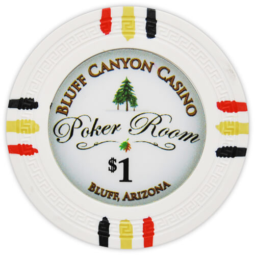 Bluff Canyon - $1 White Clay Poker Chips
