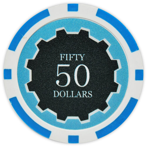 Eclipse - $50 L. Blue Clay Poker Chips