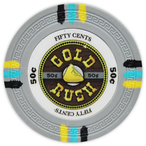 Gold Rush - 50¢ Gray Clay Poker Chips