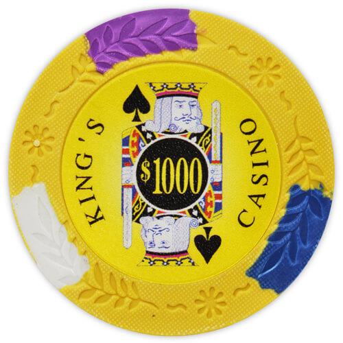 King's Casino - $1000 Yellow Clay Poker Chips