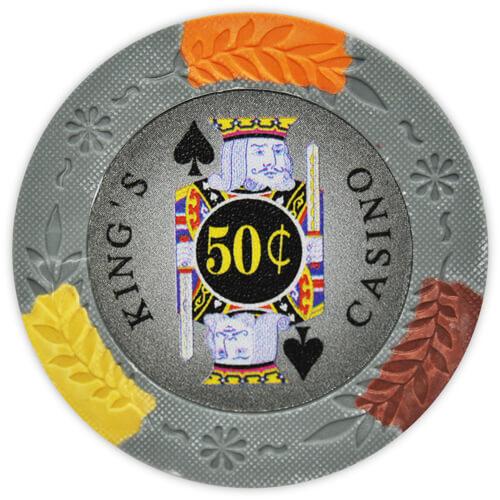 King's Casino - 50¢ Gray Clay Poker Chips