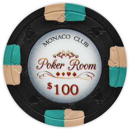 Monaco Club - $100 Black Clay Poker Chips