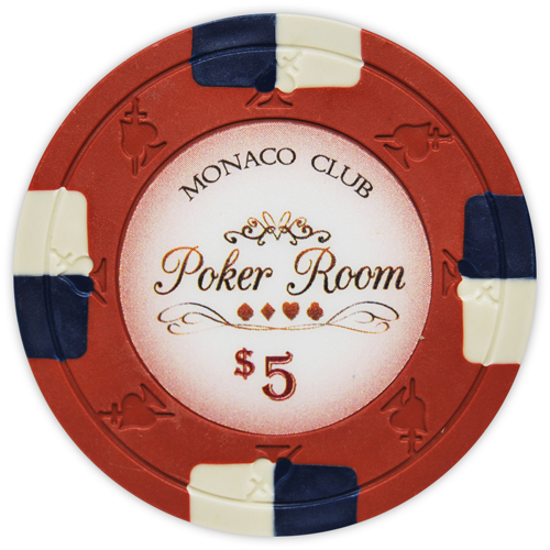Monaco Club - $5 Red Clay Poker Chips