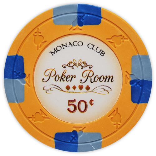 Monaco Club - 50¢ Orange Clay Poker Chips