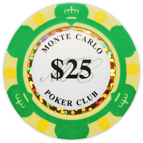 Monte Carlo - $25 Green Clay Poker Chips