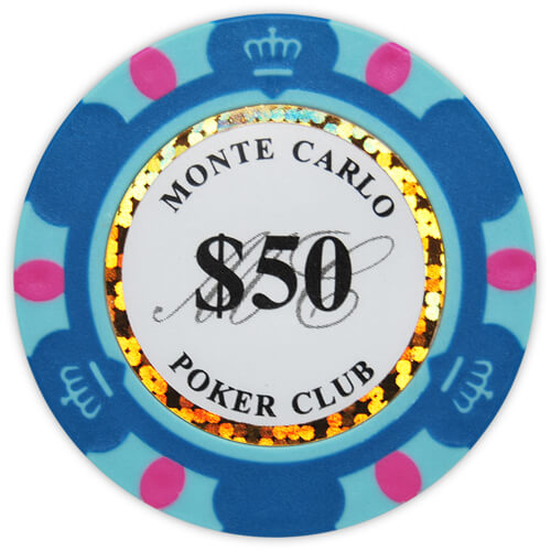 Monte Carlo - $50 L. Blue Clay Poker Chips