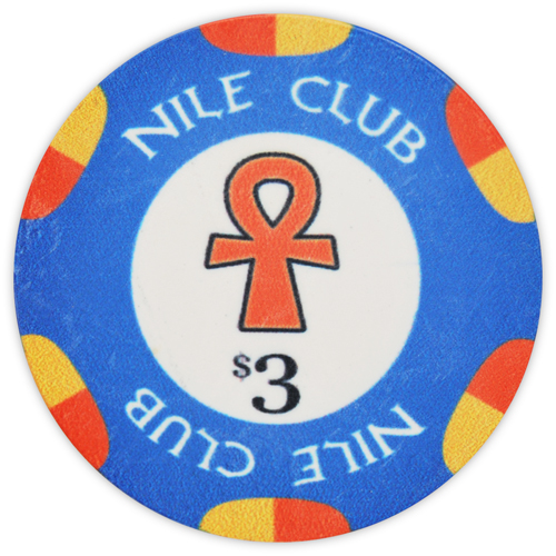 Nile Club - $3 Blue Ceramic Poker Chips