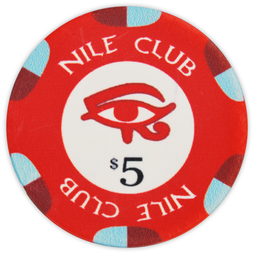 Nile Club - $5 Red Ceramic Poker Chips