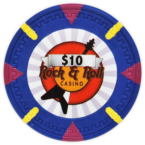 Rock & Roll - $10 Blue Clay Poker Chips