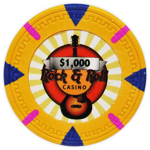 Rock & Roll - $1000 Orange Clay Poker Chips