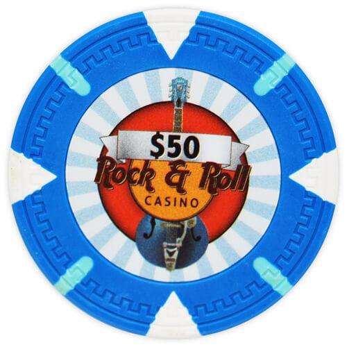 Rock & Roll - $50 L. Blue Clay Poker Chips