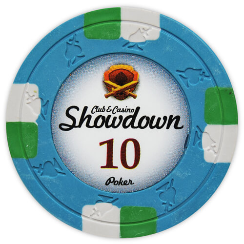 Showdown - $10 Blue Clay Poker Chips