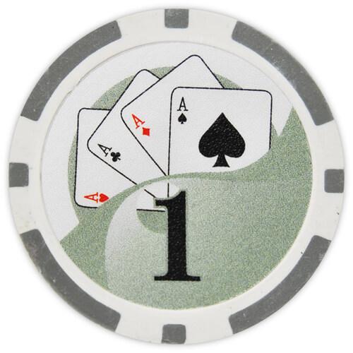 Yin Yang - $1 Gray Clay Poker Chips