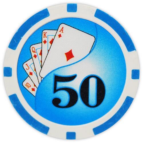 Yin Yang - $50 L. Blue Clay Poker Chips