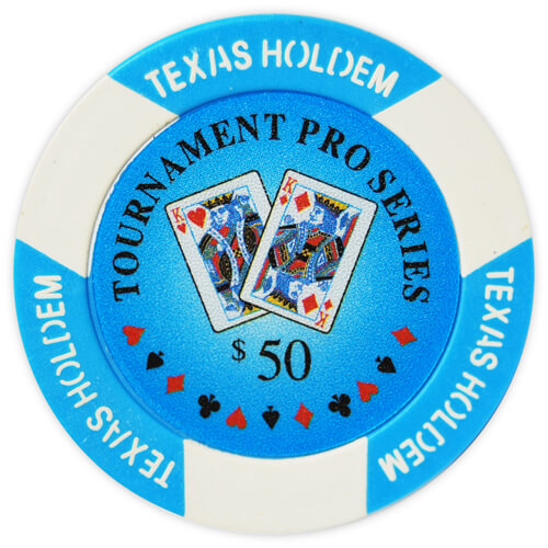 Tournament Pro - $50 L. Blue Clay Poker Chips